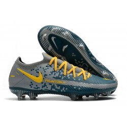New 2021 Nike Phantom GT Elite FG Boots Blue Grey Yellow