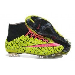 Nike New Shoes Mercurial Superfly 4 FG Soccer Cleats Leopard Yellow Pink Black