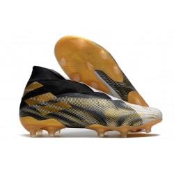 Adidas Nemeziz 19+ FG Firm Ground Boot White Gold Metallic Core Black