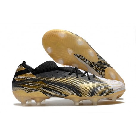 adidas Nemeziz 19.1 FG Soccer Shoes White Gold Metallic Core Black