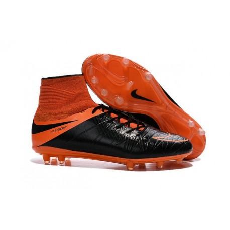 2016 Best Nike Hypervenom Phantom II Soccer Shoes Leather Black Orange