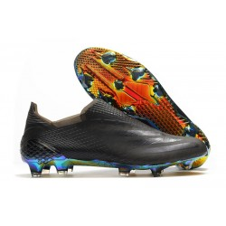 adidas X Ghosted + FG New Soccer Shoes Black Blue